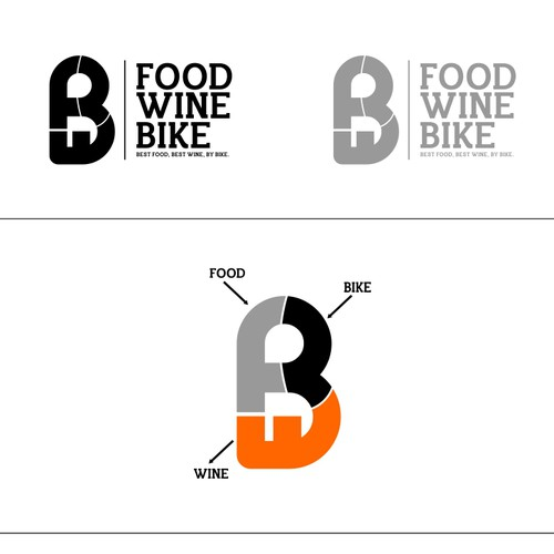 "Bike logo with the title 'Logo design for "" FOOD WINE BIKE "".'"
