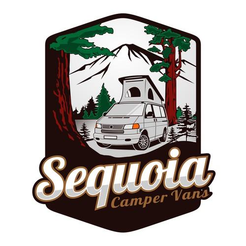 Camper van design with the title 'Sequoia Camper Vans'