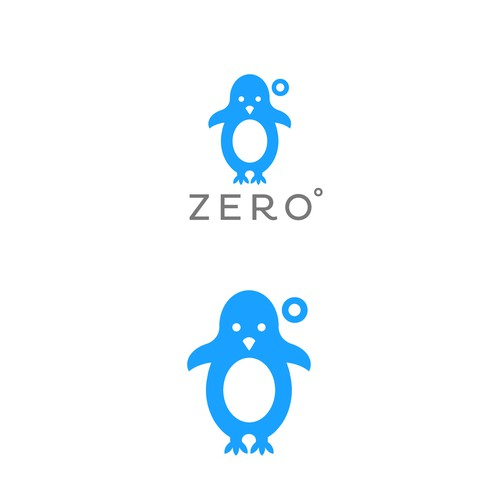 Penguin logo with the title 'ZERO Cold Coffees and Frappes Logo'