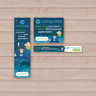 Design a killer-graphics animated banner for (Gold awarded) Coding School {Java course}