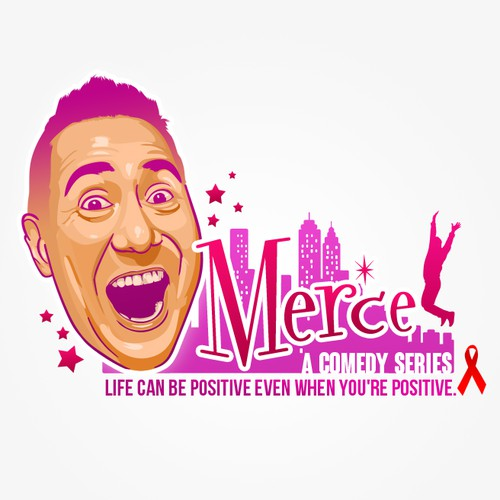 Face illustration with the title 'Design a logo for MerceTV'
