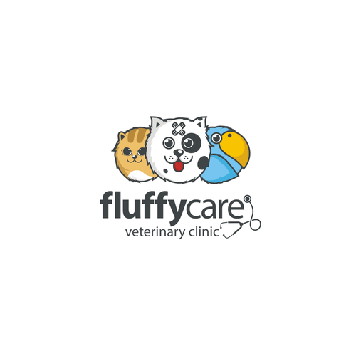 Veterinary logo with the title 'Logo concept for fluffycare'