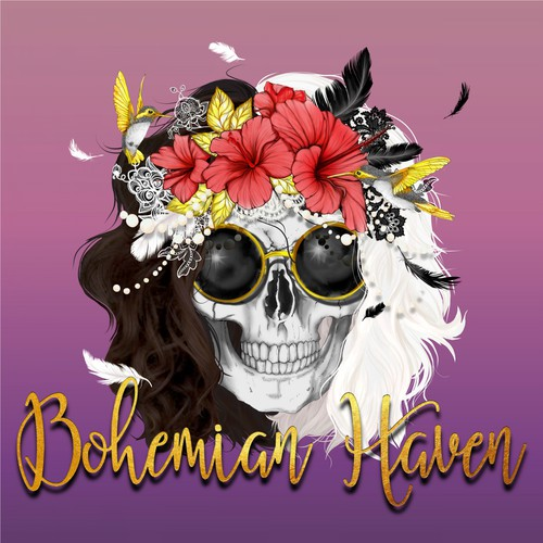 Feather design with the title 'Bohemian styel Skull Logo'