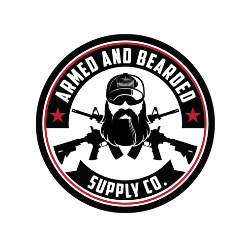 Sunglasses logo with the title 'ARMED AND BEARDED'