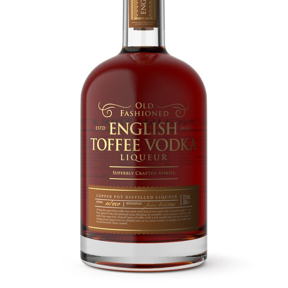 Classic packaging with the title 'Elegant Label Design for English Toffee Vodka Liqueur'