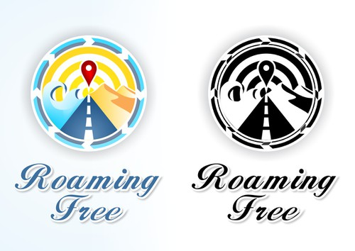 Log logo with the title 'Creative logo for world travelers blog site - Roaming Free'