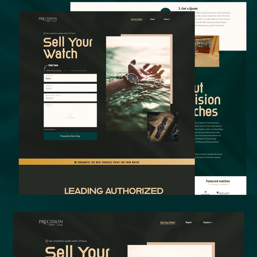 Homepage design with the title 'Landing page for watch'