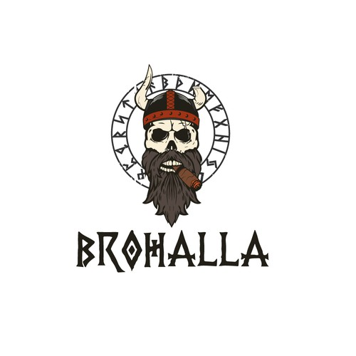 Viking ship logo with the title 'Brohalla'