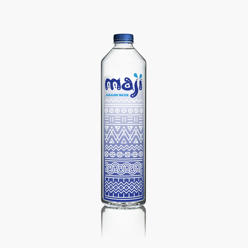 Bottle brand with the title 'MAJI Alkaline Water - Logo & Label Design'