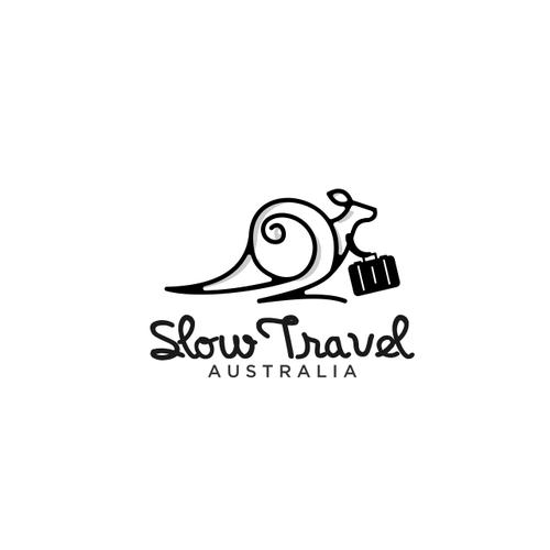 Snail logo with the title 'slow travel australia'