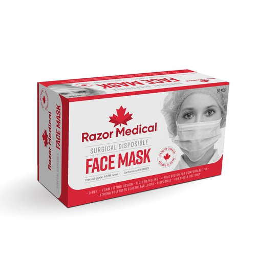 Surgical design with the title 'Surgical Face Mask made in Canada'