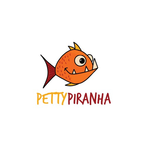 Happy logo with the title 'Quirky hand drawn piranha'