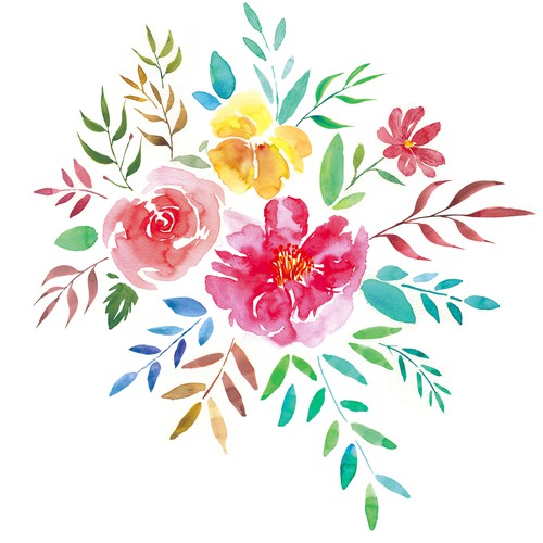 Print artwork with the title 'Watercolor flowers print'