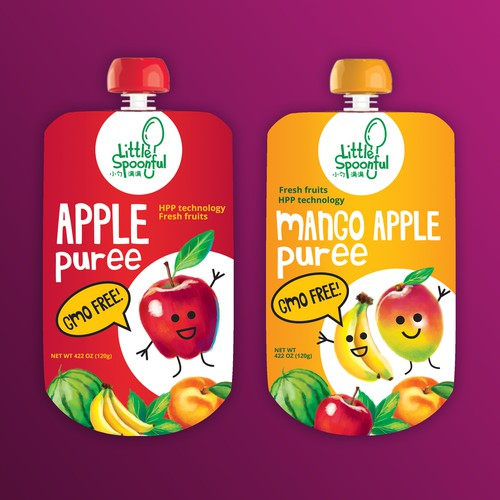 Fresh design with the title 'Packaging design  for fruits puree'