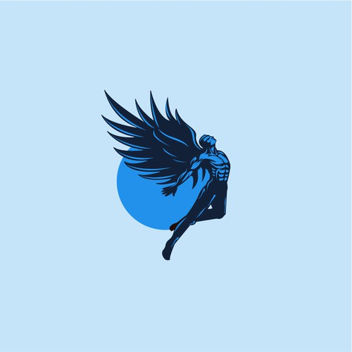 Flying bird design with the title 'Icarus logo'
