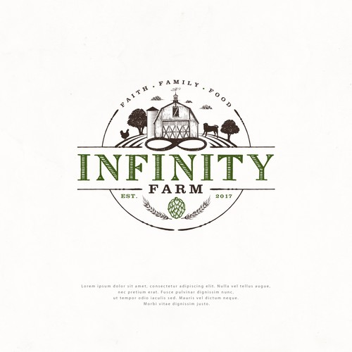 """Lifestyle blog """"Infinity Farm"""" needs a clean, unique logo to complement its rural brand. Design by Project 4"""