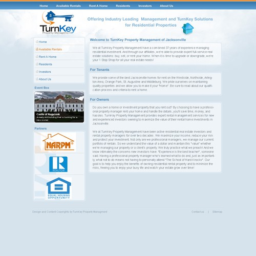 Rental Properties Websites: Webpage Template For Rental Property Management Company