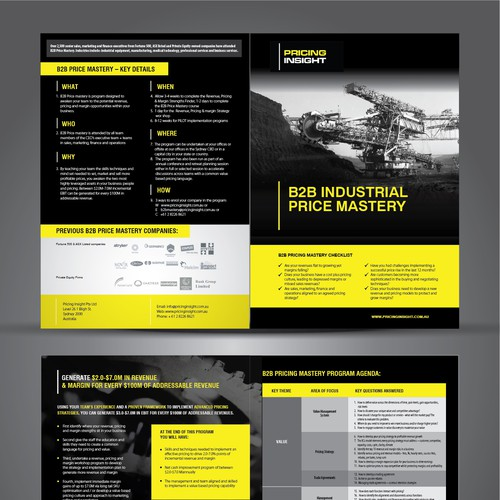B2b industrial pricing mastery course brochure brochure for Brochure design pricing