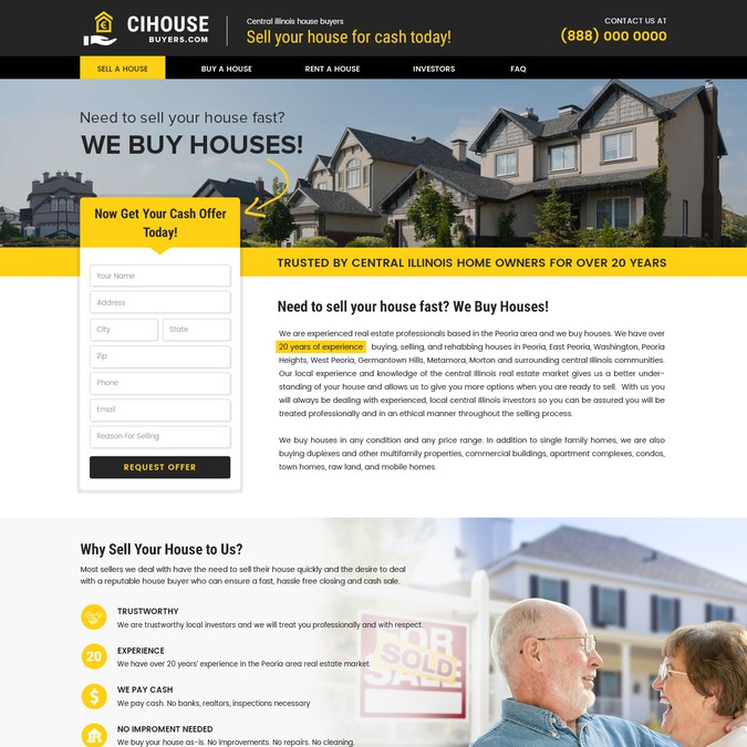 Buy A Website >> Home Page Landing Page Design For A We Buy Houses Website