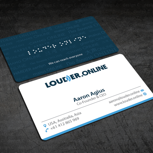 Show louder online what a classy business card looks like business runner up design by designc colourmoves