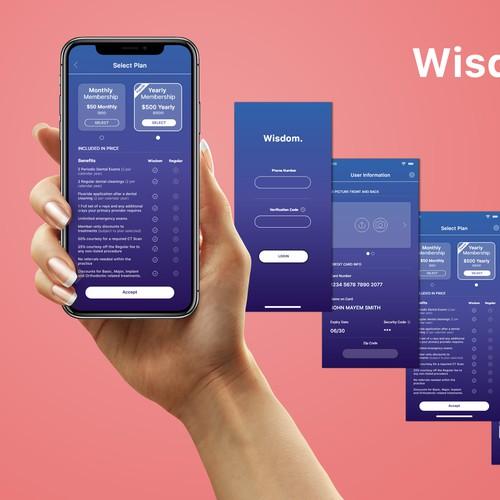 Wisdom, a discount dental membership plan (app) Design by Visual-Wizard