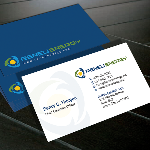 creating a business card for renewable energy consulting firm that