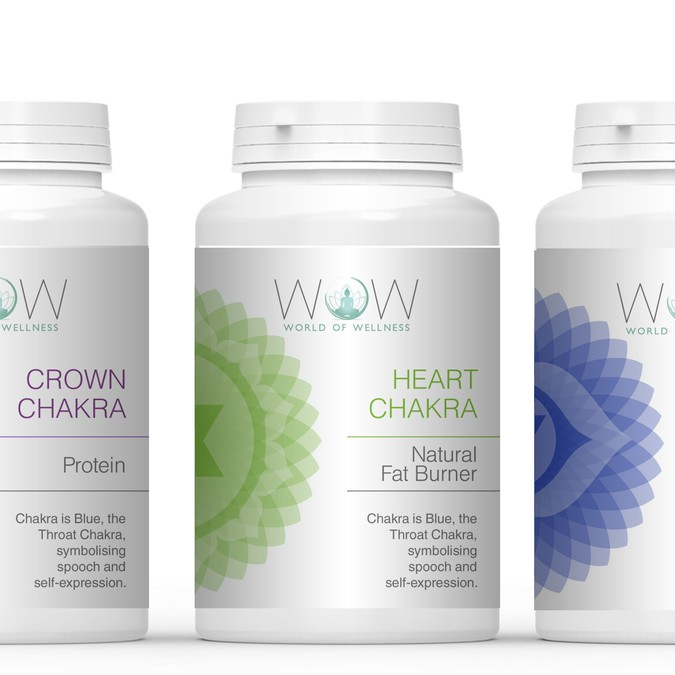 Chakra labels for modern spiritual supplement company for 1 800 900 1370