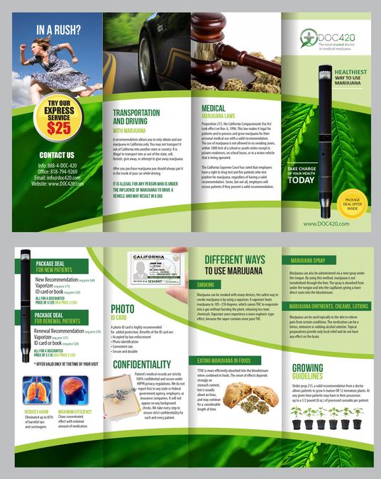 4 fold brochure for medical marijuana doctor s office カタログコンペ
