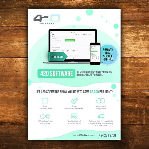 420 Software needs a new direct-mail flyer | Postcard, flyer