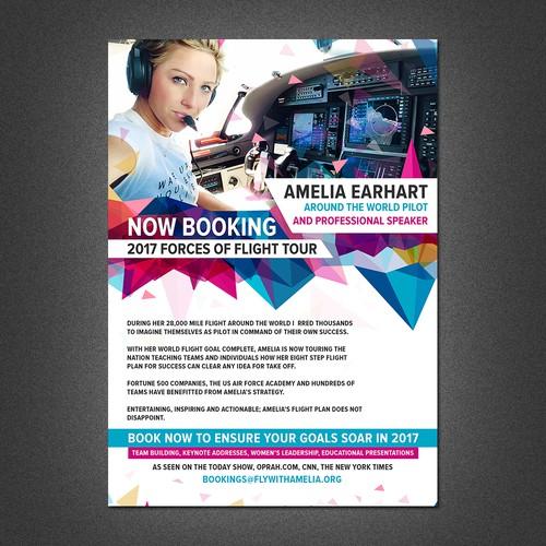 female pilot seeking flyer poster for professional speaking career