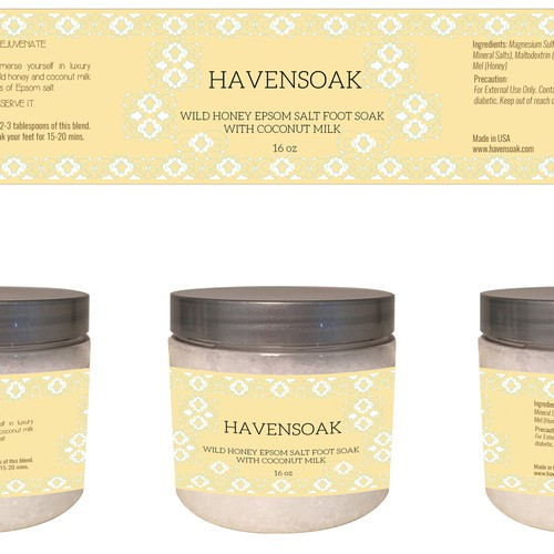 Create a quick, simple and elegant product jar label for Havensoak