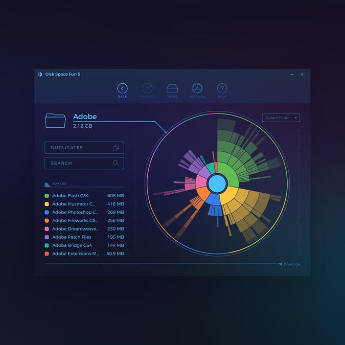 Disk Space Fan Ui Design App Design Contest