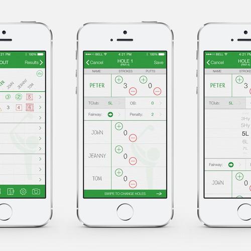 Mobile App Home Screen Redesign: Golf Scorecard Mobile App Redesign