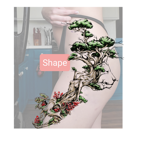 Lion Morph Tattoo: Tree Morphing To Women, Lion Head And Skull For Large Hip