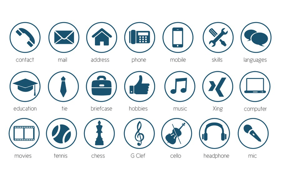 20 modern icons for personal cv resume concours ic 244 ne