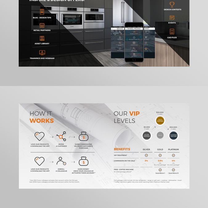 Booklet for our app for architects and interior designers for App per interior design