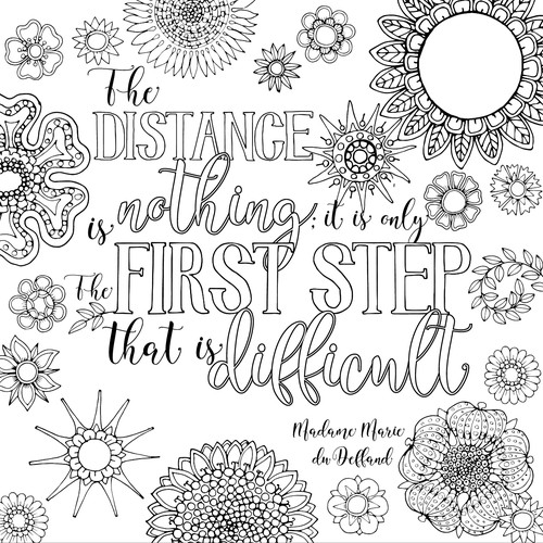 """Create 8x8"""" Hand Lettered Coloring Poster Page Design by ivala"""