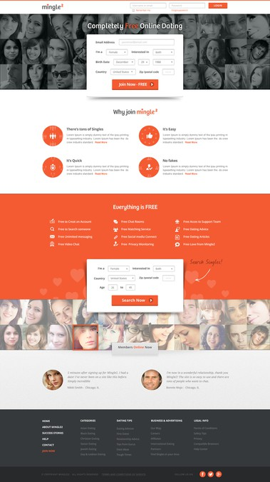Mingle2 online dating site new design | Web page design contest