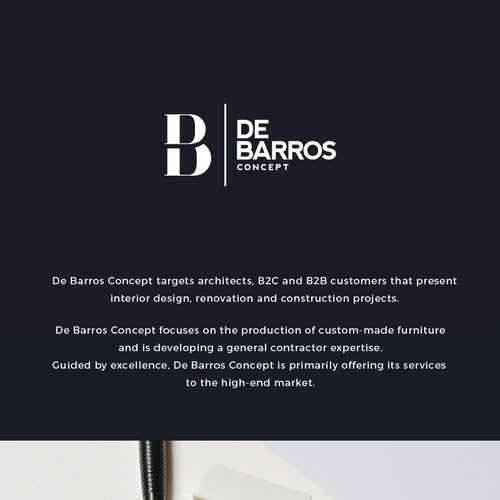 create a logo for de barros concept interior design renovation and construction company logo. Black Bedroom Furniture Sets. Home Design Ideas