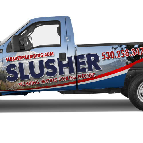 Utility truck wrap for plumbing heating cooling and