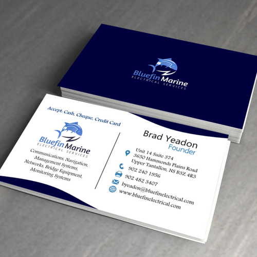Logo and business card for bluefin marine electrical services logo entries from this contest colourmoves