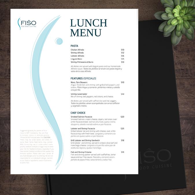 urban modern fine dining seafood menu menu contest