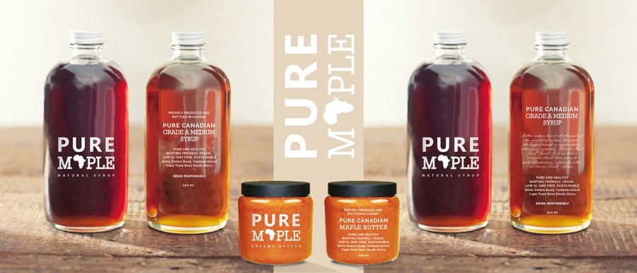 Create trendy maple syrup packaging label for distribution in South