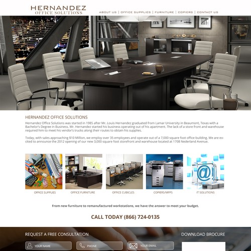 Website design for Houston office solutions provider | Web page