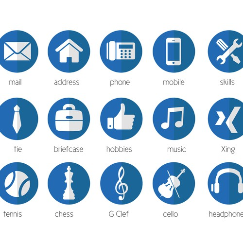 20 modern icons for personal cv    resume