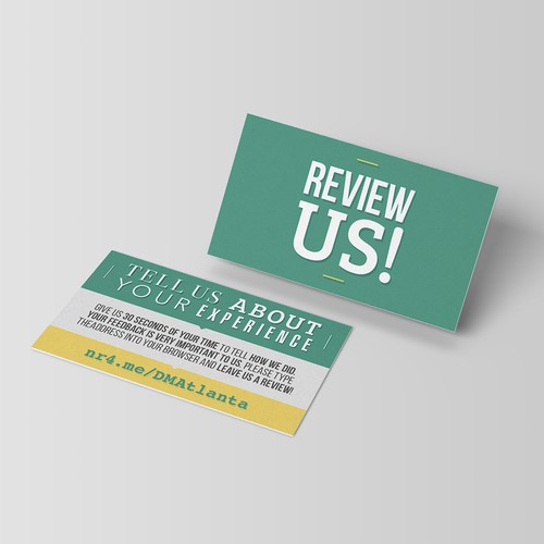 REVIEW ME CARD - Business Card Size To Request a Rating and