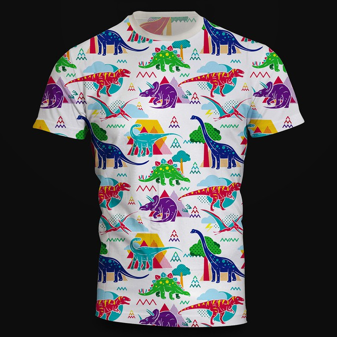 Design a cute dinosaur pattern t shirt t shirt contest for Websites to create shirts
