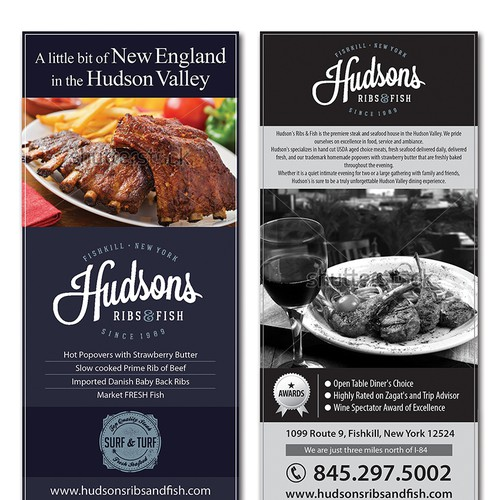 Hudson 39 s ribs fish needs a new postcard or flyer for Hudson ribs and fish