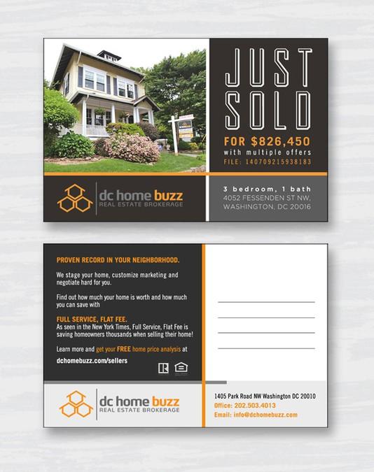 create a hip modern just sold 3 property postcard postcard