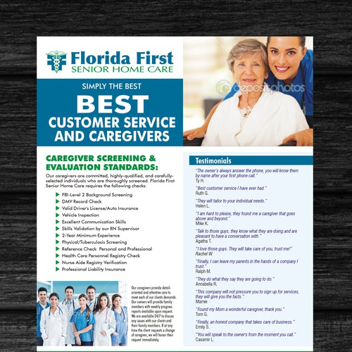 help florida first senior home care with a new postcard flyer or